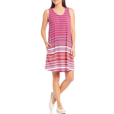 アベンチュラ レディース ワンピース トップス Carrick Stripe Scoop Neck Sleeveless Dress Red Plum