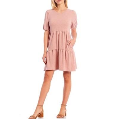 スカイズアブルー レディース ワンピース トップス Knit Short Sleeve Tiered Dress Dusty Rose