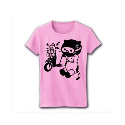 MODSバイクとねこ(モノクロ) リブクルーネックTシャツ(ライトピンク)