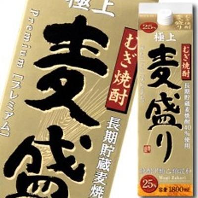 【送料無料】合同 むぎ焼酎 麦盛り プレミアム 25度1.8Lパック×1ケース(全6本)