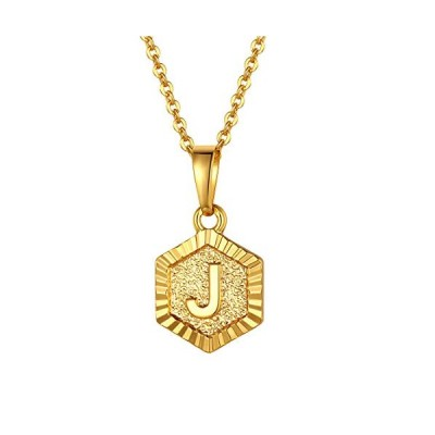 FindChic イニシャルネックレスJ レディース ペンダントトップ 18金 18k ゴールド 真鍮 小さめ 六角形 おしゃれ  タイプC・ゴールド