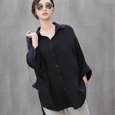 ゆったりシャツブラウス 七部袖 トップス シャツ チュニック ブラック M L 送料無料