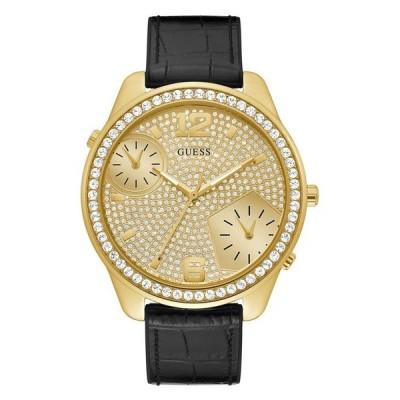 ゲス メンズ 腕時計 アクセサリー Men's Oversized Dual Time Crystal Gold-Tone Flex Strap Watch 51mm
