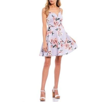 シティヴァイブ レディース ワンピース トップス Notched Floral Print Skater Dress