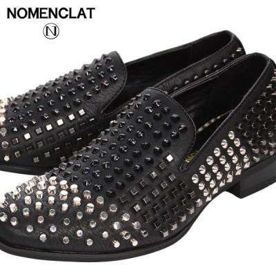 オペラシューズ スタッズ オペラパンプス シューズ 合皮 靴 メンズ 紳士靴 ローファー(ブラック黒) nct1005