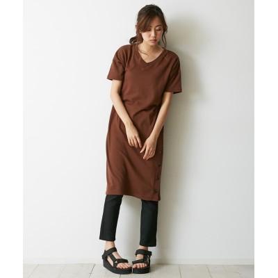 サイドボタン付Vネックロングワンピース (ワンピース)Dress