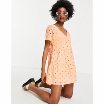エイソス ASOS DESIGN レディース ワンピース Aライン ワンピース・ドレス broderie v front v back tiered mini smock dress in orange