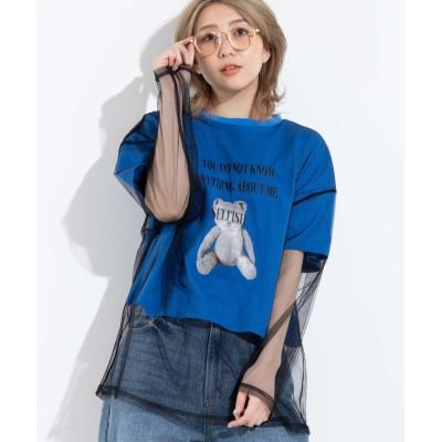 チュールドッキングプリントTシャツ【1月20日11:59まで特別価格】