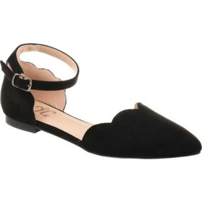 ジュルネ コレクション Journee Collection レディース スリッポン・フラット アンクルストラップ シューズ・靴 Lana Pointed Toe Ankle Strap Flat Black