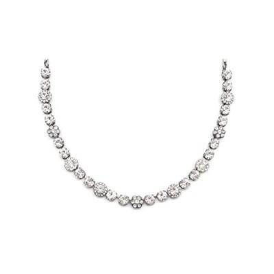 特別価格Mariana On a Clear Day Silvertone Necklace Clear Crystal Flower Mosaic 0010好評販売中