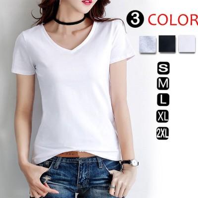 レディース Vネック ティーシャツ ティシャツ Tシャツ トップス ストレッチ素材 半袖 大きいサイズ tシャツ