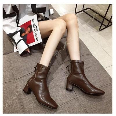 ショートブーツ レディース ヒール スクエアトゥ 太ヒール バックファスナー 履きやすい ミドルヒール 歩きやすい ブーティ ブーツ 美脚 ファッション