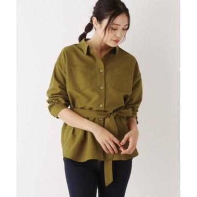 【WEB限定LLサイズあり】ピーチスキン ベルト付きシャツ