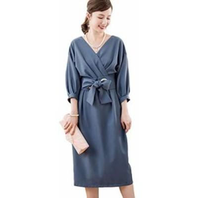 [DressStar] 体型カバー 袖あり フォーマル 膝丈 ワンピース ドレス スーツ レディース 大きいサイズ L(9~11号) ブルー
