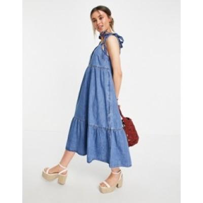 エイソス レディース ワンピース トップス ASOS DESIGN soft denim tiered midi dress in midwash Blues