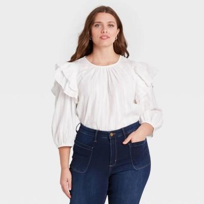 ユニバーサルスレッド Universal Thread レディース ブラウス・シャツ 七分袖 大きいサイズ トップス Plus Size Double Ruffle 3/4 Sleeve Blouse - White