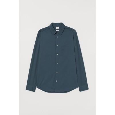 H&M - プレミアムコットンシャツ - ターコイズ