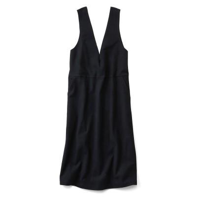 やわらかカットソーで伸びやかなジャンパースカート〈ブラック〉 リブ イン コンフォート フェリシモ FELISSIMO