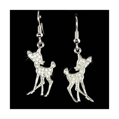 イヤリング インポート スワロフスキ クリスタル ジュエリー ~Bambi~ made with Swarovski Crystal Fawn Deer Lover Charm Earrings Xmas Jewelry