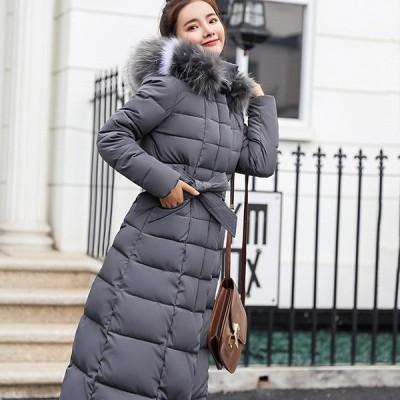 超ロングコート レディース ダウンコート 細身 着痩せ 冬 防寒 アウター 中綿コート 30代 40代 大きいサイズ 黒 ロングコート フード
