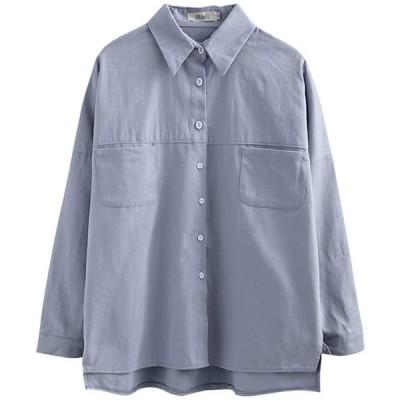 Yonistar 【在庫処分】麻 シャツ レディース 綿 ブラウス 長袖 スリット 白 森ガール トップス ゆったり ポケット シンプル(XL ブルー