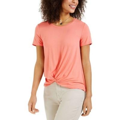 スタイル&コー Style & Co レディース トップス Twist-Front Top Orange Shade