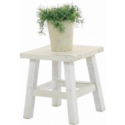 木製フラワースタンド ロー スクエアmoku 2点セット ブラウン ホワイト     花、ガーデニング  ガーデニング、園芸用品  盆栽道具  飾卓、花台
