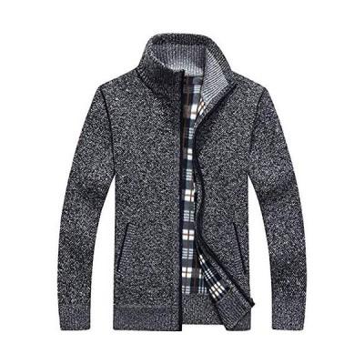 AKANA メンズ セーター カーディガン ジャケット 長袖ジップ スタンドカラー M-3XL(Dark Gray-L)