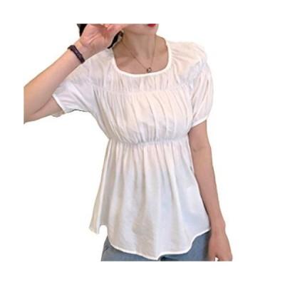 ミャオッティ 半袖 カットソー シフォン Uネック tシャツ ふんわり 体型カバー 二の腕カバーUネック フンワリ 二の腕カバー 華奢 透け
