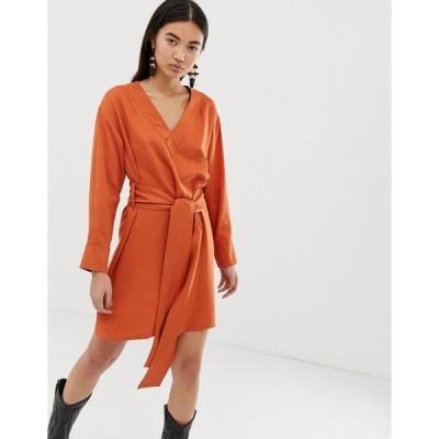 ウィークデイ レディース ワンピース トップス Weekday wrap front dress in dark orange Orange