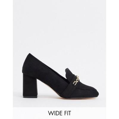 ロンドンレベル レディース オックスフォード シューズ London Rebel Wide Fit chain heeled loafers in black Black micro