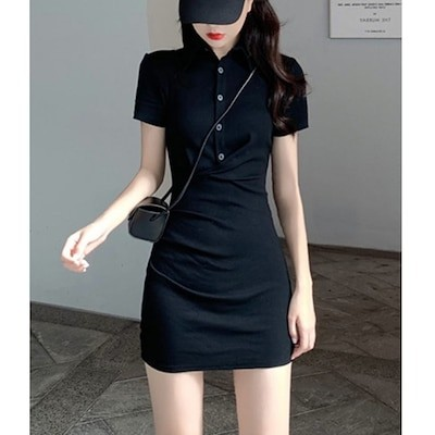 スリムセクシードレスレディース2021夏新スタイル韓国黒ポロカラーラペルタイトフィットヒップスカート