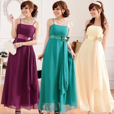 パーティードレス 大きいサイズ ぽっちゃり 送料無料 結婚式 ワンピース ロングドレス シフォンキャミドレス F/2L/3L/4L 9212