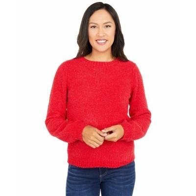 マイケルコース ニット&セーター アウター レディース Texture Puff Sleeve Sweater Crimson