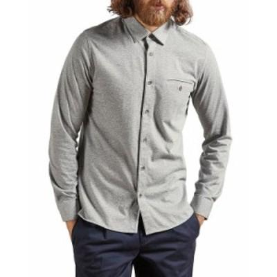 テッドベーカー メンズ シャツ トップス Cotton Blend Textured Shirt Gray