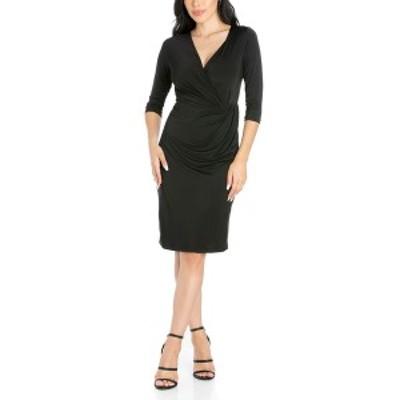 24セブンコンフォート レディース ワンピース トップス Women's Draped in Style V-Neck Dress Black