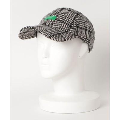 帽子 キャップ チェックポリウールキャップ  6パネル ローキャップ
