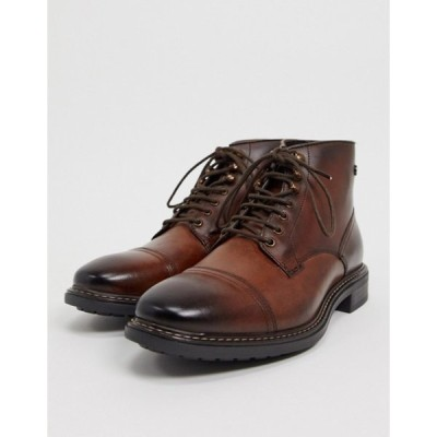 ベースロンドン メンズ ブーツ・レインブーツ シューズ Base London conrad toe cap boots in brown leather