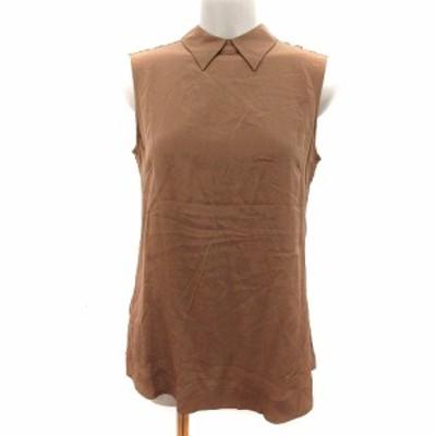 【中古】アイシービー iCB シャツ ブラウス ステンカラー 絹 シルク ノースリーブ 9 茶 ブラウン /AU レディース