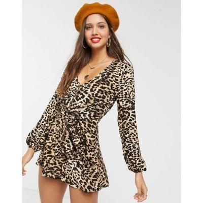 エイソス レディース ワンピース トップス ASOS DESIGN leopard print v neck button front romper Leopard print