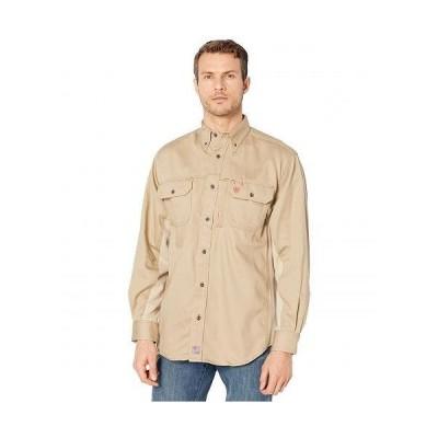 Ariat アリアト メンズ 男性用 ファッション ボタンシャツ FR Solid Vent Long Sleeve Work Shirt - Khaki