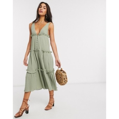 エイソス レディース ワンピース トップス ASOS DESIGN button front tiered midi sundress in textured crinkle in khaki