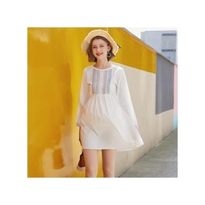刺繍 ホワイト マタニティドレス フォーマル パーティードレス お呼ばれドレス kh-1201