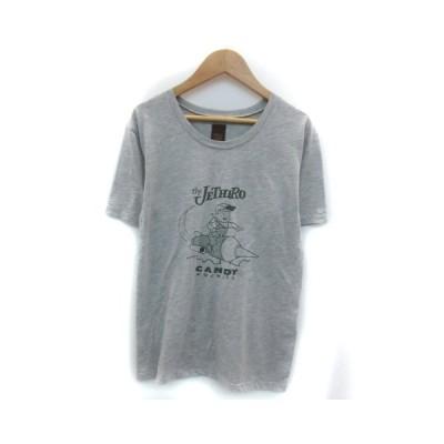 【中古】アングリッド UNGRID Tシャツ カットソー 半袖 ラウンドネック プリント F グレー /YM20 レディース 【ベクトル 古着】