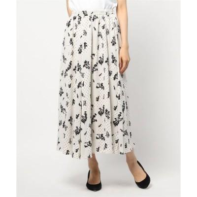 スカート 花柄ロングフレアスカート