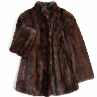 極美品▼MITSUKOSHI SAGA MINK 三越 サガミンク 本毛皮コート ブラウン 毛質艶やか・柔らか◎