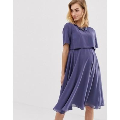 エイソス レディース ワンピース トップス ASOS DESIGN Maternity 3D embellished crop top midi dress