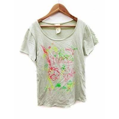 【中古】バーフィット BURFITT Tシャツ カットソー 半袖 プリント S グレー /AST16 レディース