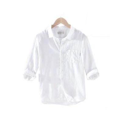 リネンシャツ メンズ 7分袖 ワイシャツ 通気性 スタンドカラー 無地 夏秋 長袖シャツ 棉 麻   通学 通勤 ストリート 大人快適 イエロー 緑 白 M-3XL