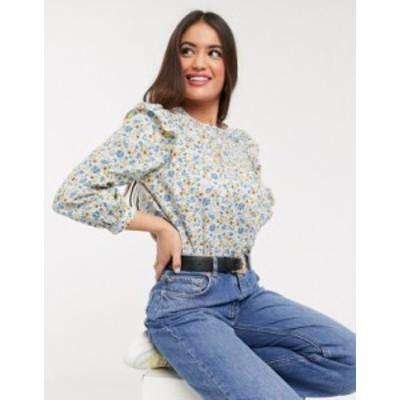 ニュールック レディース シャツ トップス New Look poplin frill detail smock blouse in floral print White pattern